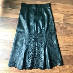 •Zara• Embroidered Faux Leather Skirt